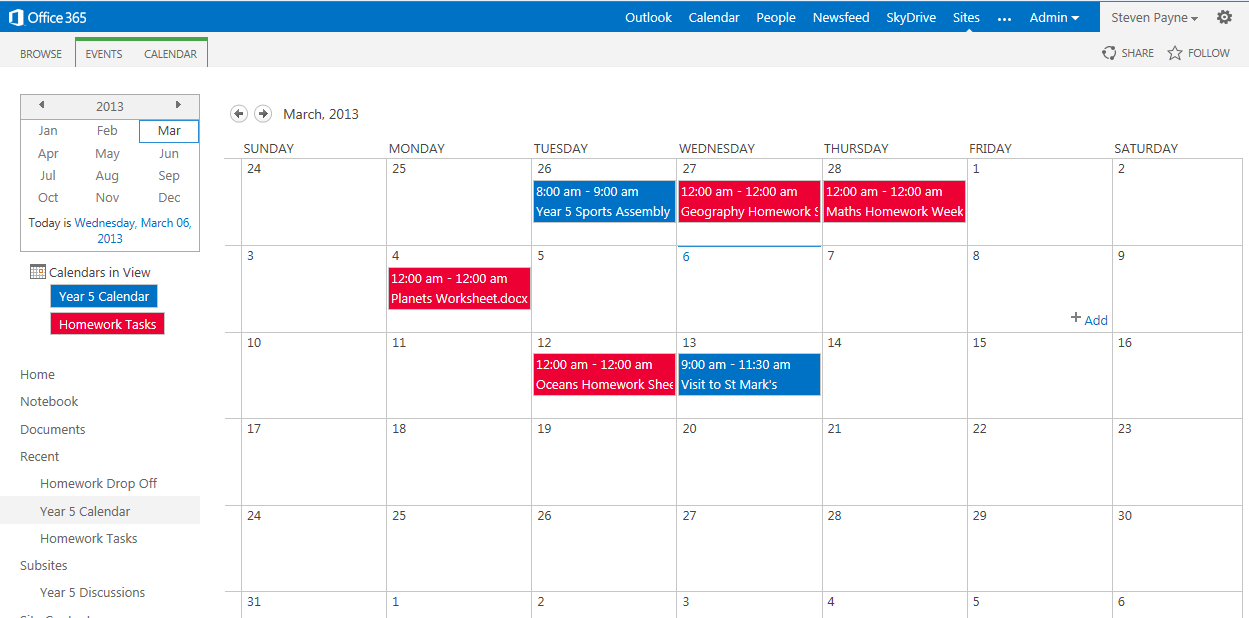 Office Calendar 365 : Office overlaying calendars and homework tasks in